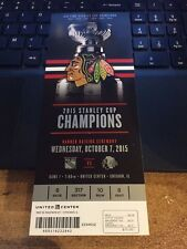 2015 CHICAGO BLACKHAWKS STANLEY CUP BANNER RAISING TICKET STUB VS RANGERS 10/7