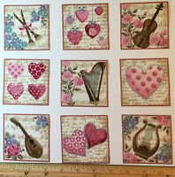 Music Fabric Squares Love Songs Harp Violin Hearts 15 Appliques Makower Rare