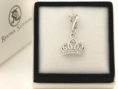 Rhona Sutton Sterling Silver Clip On Charms: Baby Bib, Stork, Teddy, Tiara, Pram