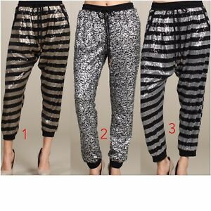 Silver Sequin Jogger pant. Gold and black sequin jogger ...