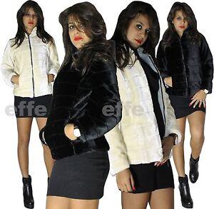 huge selection of b7e76 5dc24 Dettagli su Pelliccia donna ecologica Giubbotto corto Giubbino giacca con  cappuccio nuovo