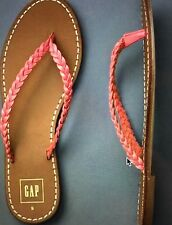 GAP womens Braided Leather Flip Flops size US 8 Pink Vacation Resort