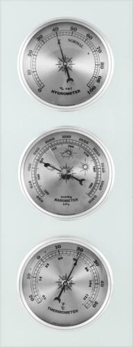 Wall Weather Station Barometer Thermometer Hygrometer On Opal Glass Modern Piece