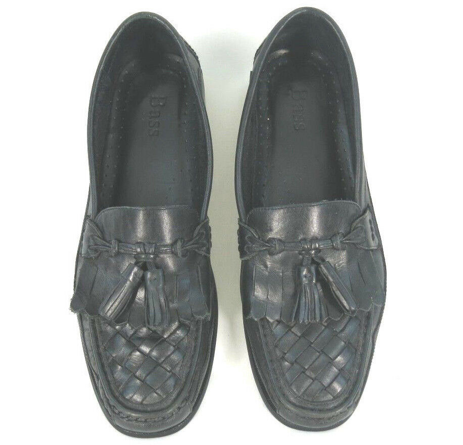 BASS Shoes Black Woven Leather Kiltie Tassel Slip On On On Broward Loafers Mens 10 M 398d34