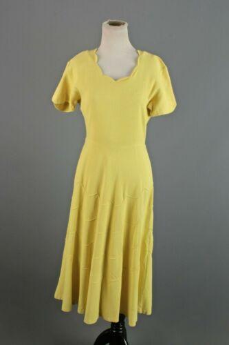 VTG Women's 40s Yellow / Chartreuse Linen Dress Sz