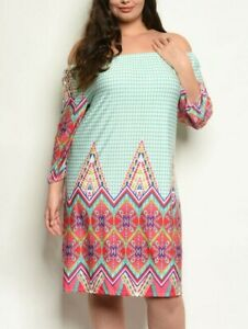 Plus-Size-Long-Sleeve-Off-The-Shoulder-Printed-Tunic-Dress-In-Mint-Coral-3X