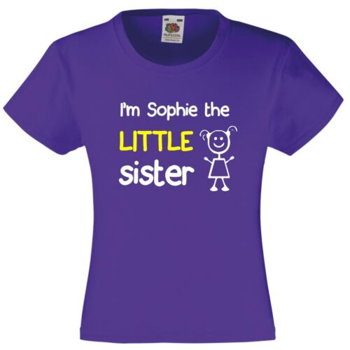 Personalised I/'m The Little Sister Girls T-Shirt 3-13 Yrs Funny Custom Present