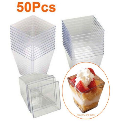 50Pcs 60ml Mini Square Dessert Cup Cube Clear Plastic Sample Dish Tray Decor~