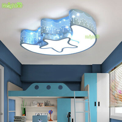 Star Moon Light Fixture Kids Room Ceiling Lamp Led Baby Bedroom Light New Ebay