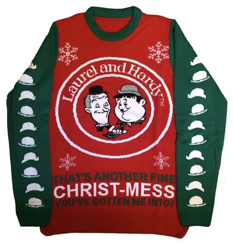 Stan /& Ollie Jumper Official Mens Sweater Laurel And Hardy - Christmas