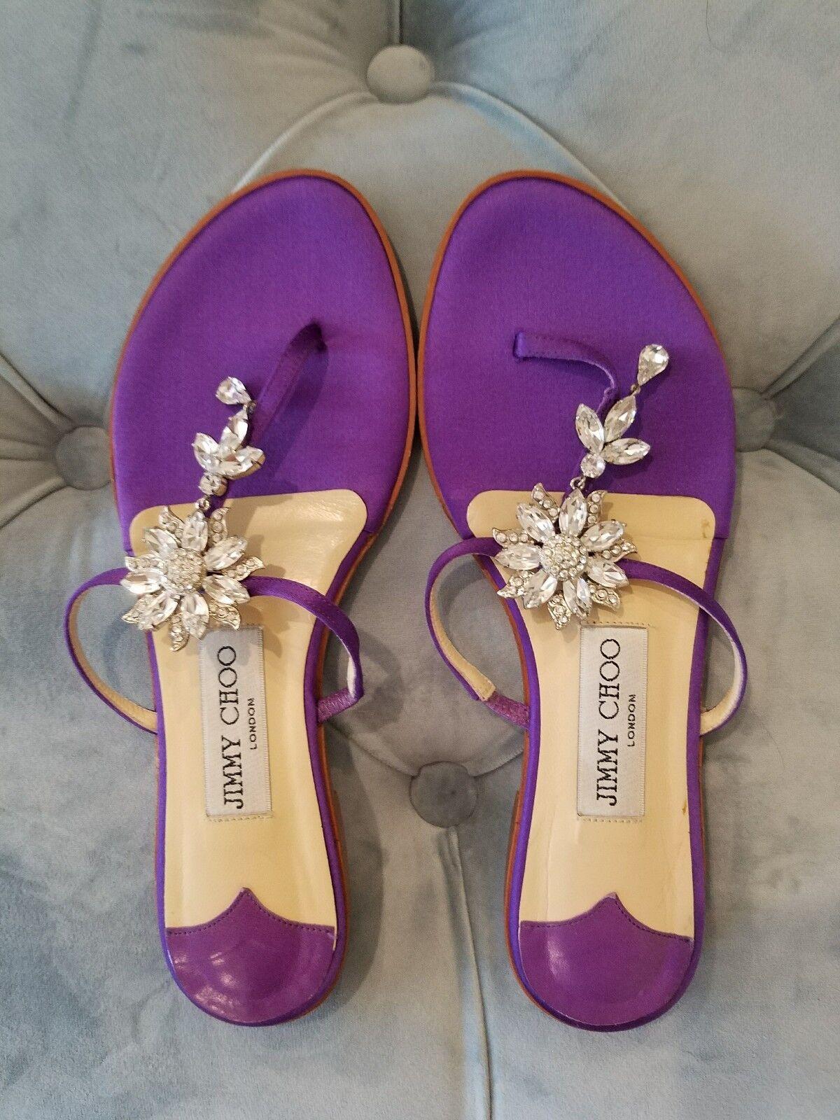 JIMMY CHOO purple crystal Rhinestones Sandler flats, retail $480
