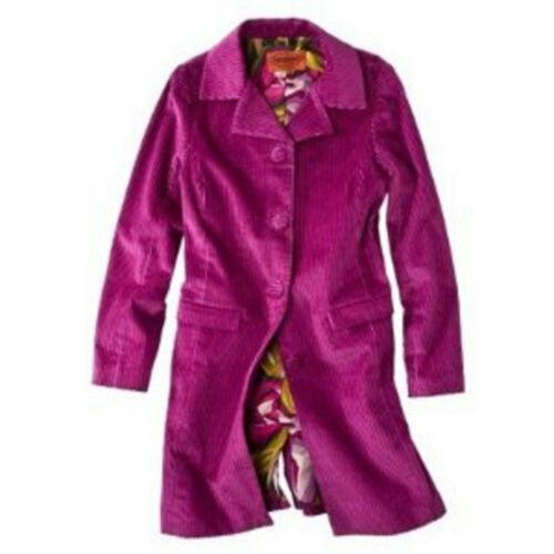 MISSONI for Target Womens Wine Corduroy TRENCH Coat Jacket Cord Lined Magenta