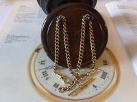 VICTORIAN 10CT ROSE R/GOLD CURB LINK POCKET WATCH CHAIN/ALBERT & T BAR. C~1890's