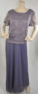 Alex-Evenings-New-W-Tags-Short-Sleeve-Lacy-Top-Evening-Gown-Orchard-Violet-16W