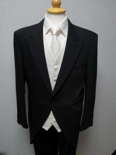 Mens Black Tailcoat Morning Evening Suit Wedding Dress Royal Ascot Tails Jacket