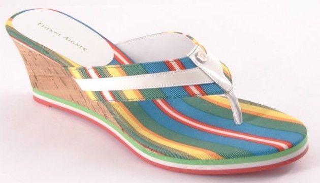 New ETIENNE AIGNER Women Canvas Cork Wedge Heel Heel Heel Thong Slide Sandal shoes Sz 7.5 M 5f9759