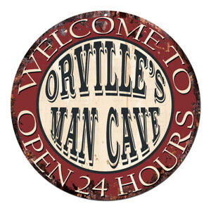 CPM-0430 ORVILLE'S MAN CAVE OPEN 24hrs Chic Tin Sign Man Cave Decor Gift
