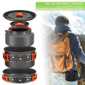 Portable Outdoor Camping Hiking Cookware Picnic Cooking Equipment Pot Pan Kit UK
