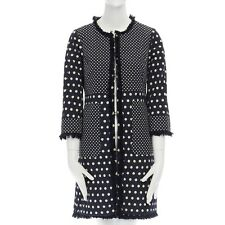 bc3707e3e677 item 1 TORY BURCH navy blue white polka dot jacquard frayed trimmed coat  US2 S -TORY BURCH navy blue white polka dot jacquard frayed trimmed coat  US2 S