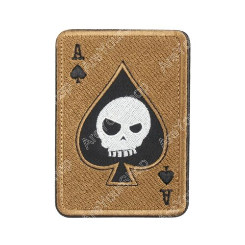 Ace Of Spades Death Skull Card USA Army Tactical Morale Calico Hook Patch