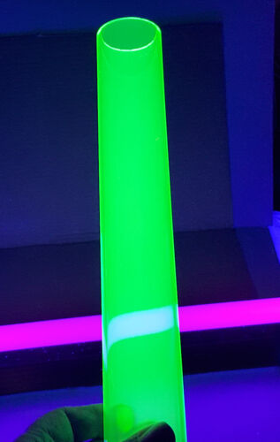 "2/"" OD DIAMETER 1 3//4/""ID CLEAR GREEN FLUORESCENT ACRYLIC PLEXIGLASS 12/"" INCH TUBE"