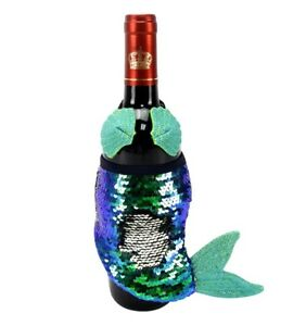 Mermaid-Figure-Wine-Bottle-Cover-Bag-Holder-Summer-Luau-Party-Beach-House-Decor