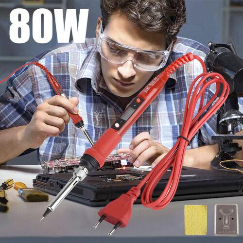 UK.220V 80W Mains Powered Adjustable Soldering Iron Welding Electronics EU Plug