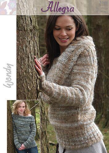"Wendy Knitting Pattern 5366 Large Roll Colar Sweater Aran Allegra 30-40/"" Ladies"
