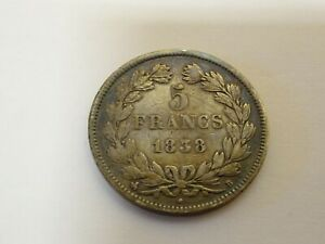 Collectable-French-France-Louis-Philippe-Silver-5-Francs-Coin-1838