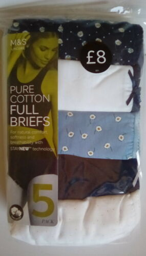 M/&S Ladies Navy Blue Mix Pure Cotton Full Briefs Knickers Size 28