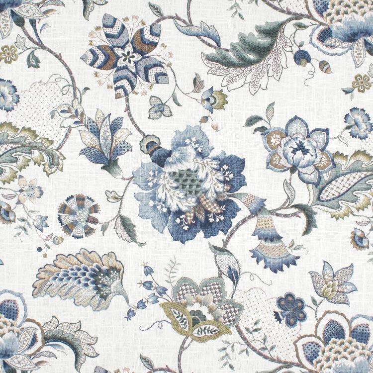 panel de cortina en p iris azul que empareja cenefas