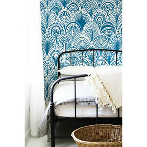 Blue-Bohemian-Removable-Wallpaper-Abstract-Mural-Modern-Peel-Stick-Wall-covering