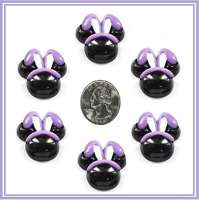 6 PC WHITE EASTER BUNNY FACE FLATBACK FLAT BACK RESINS BUNNIES RESIN