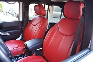 Neoprene Seat Covers For Jeep >> 2011-2015 Jeep Wrangler JK 4DR Red Seat Covers Syn Leather Custom Overlay | eBay