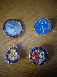 Four-Enamelled-Pin-Badges-Civil-Defence-Corps-Girl-Guides-Women-039-s-League-Of