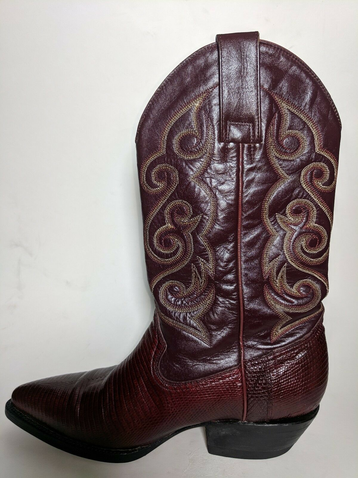 Pistolero Red Leather Lizard  Skin Cowboy Boots Men Sz 6.5 US EUC  counter genuine