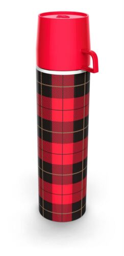 Red Plaid Fred Picnip Travel Thermos Flask with Cup