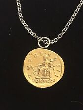 """Aureus Of Hadrian Coin WC59 Gold Pewter On 18"""" Silver Plated Chain Necklace"""