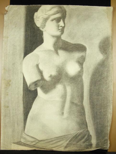 La Déesse Aphrodite Remarkable Drawing Charcoal D'Ap The Venus Milo 62 CM