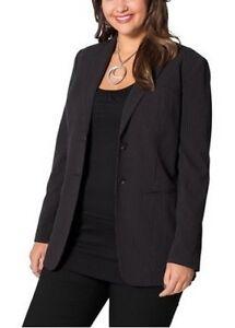 Sheego Gr Blazer 40 Business Stretch 50 Jacket Ladies Zwart Gestreept New BrqB6HP