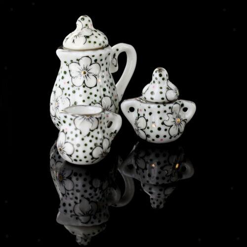1//12 Dollhouse Miniatures Dining Ware Porcelain Tea Set 15pcs Daisy Pattern