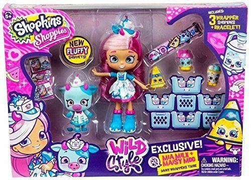 Maisy Moo Toys R Us Exclusive Set NEW Shopkins Shoppies Wild Style Mia Milk