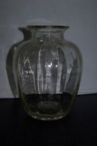 Antique-Blown-Clear-Bubble-Glass-Ridged-Ribbed-9-034-Vase