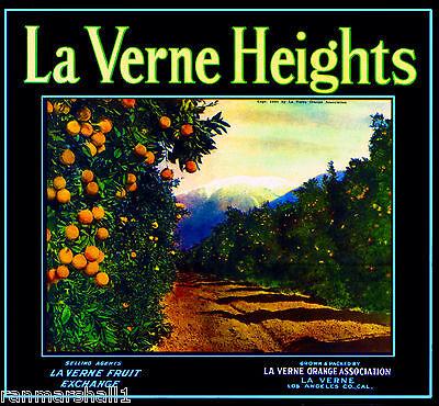 Mount Baldy Orange Citrus Fruit Crate Label Art Print La Verne Heights #2 Mt