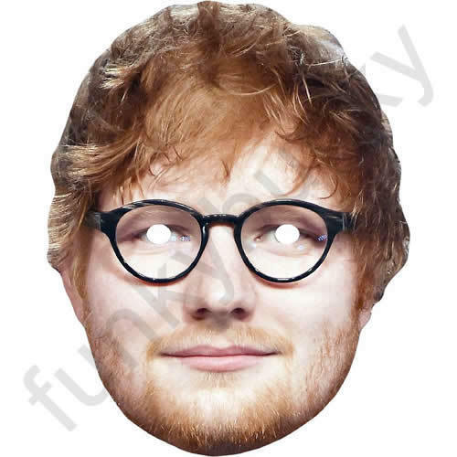 Ed Sheeran With Glasses Celebrity Card Face Mask All Our Masks Are Pre-Cut