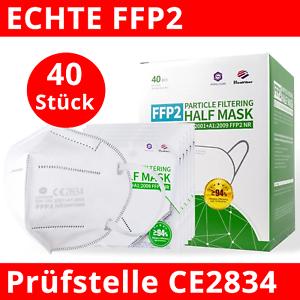 40x FFP2 Maske, echtes CE2834 Zertifikat & EN149:2001+A1:2009 FFP2 NR