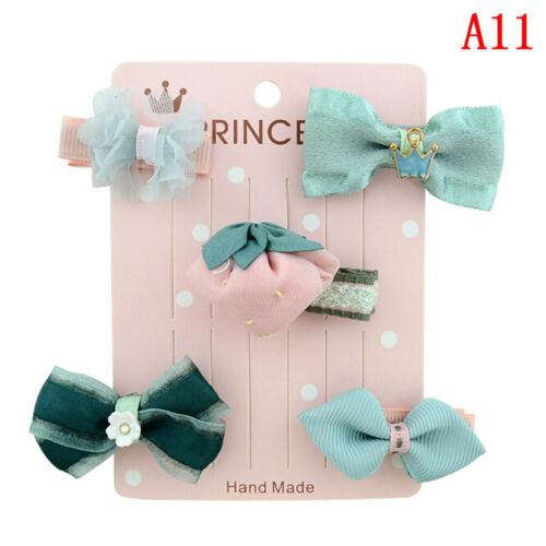 5Pcs//set kids girls cartoon animal hairpin hair clips baby hair accessories JKU