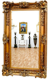éNergique Miroir Baroque Cadre En Bois Dore 156x95cm Glace Rocailles Rococo Style Louis Xv