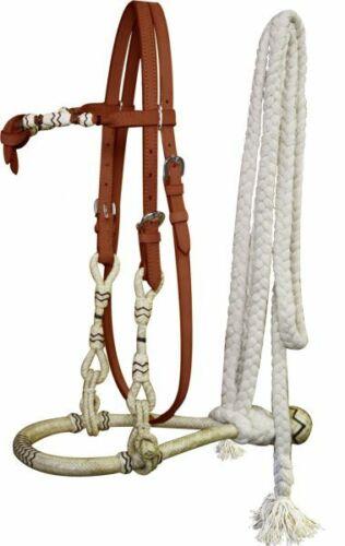 Showman Leather Futurity Knot Headstall w// Rawhide Bosal /& Mecate Reins