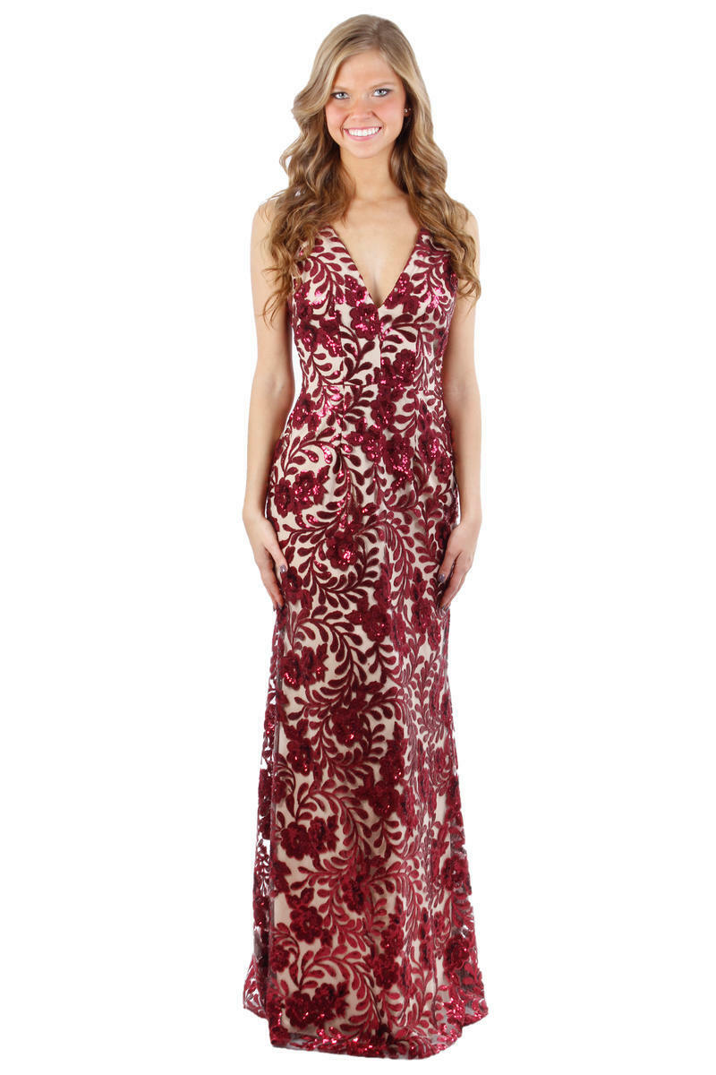 450 XSCAPE WOMEN'S RED RED RED BEIGE LACE SEQUINED SLEEVELESS LONG GOWN DRESS SIZE 12 9adc87